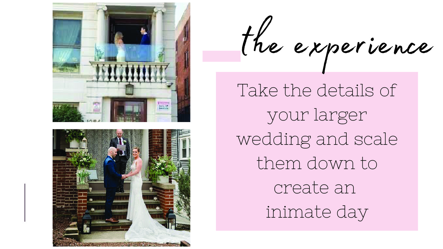 Take the details of your larger wedding and scale them down to create an intimate day.